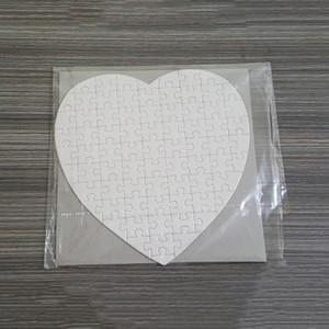 Sublimación en blanco Corazón Puzzles DIY Puzzle Heart Love Forma Puzzle Transferencia Caliente Impresión Consumibles en blanco Niños Juguetes Regalos