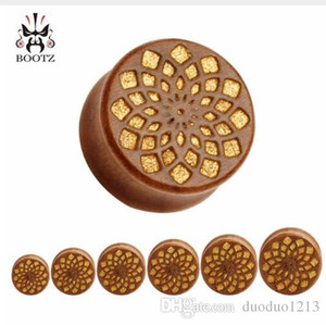 42pcs lot hot sale new design for tunnel free ear gauges wood ear plugs piercing tunnel body jewelry 10-25mm
