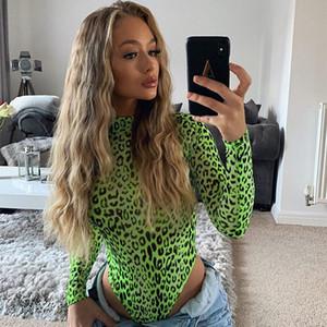 OMSJ Moda Sonbahar Neon Yeşil Lady Uzun Kollu Leopar Baskı Bodysuit Yüksek Kesim Seksi Tulum Balıkçı Yaka Sıska Tek Parça Romper