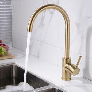 Promoção Sólido aço inoxidável 304 água quente e fria torneira da cozinha Sink Mixer Tap com arejador torneira pia do níquel escovado / preto