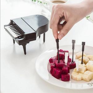 10pcs / lot Creative Piano Fruit Forks Set bâtons pour Dessert Fruit Snack outils de crochetage salle à manger Cuisine Vaisselle Accessoires