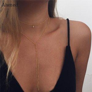 Ahmed Simple Or Couleur Balle Pendentif Collier Pour Les Femmes Bijoux De Mode Nouveau Maxi Perles Collier Colliers Collier Femme