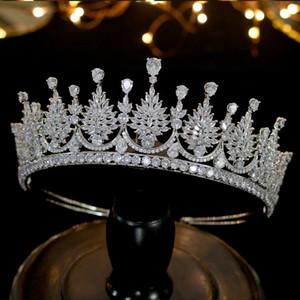 우아한 여자 머리 장식 크라운 퍼레이드 파티 럭셔리 새로운 웨딩 크라운 티아라 머리띠 크리스탈 지르코니아