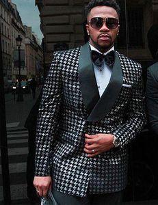 Hahnentrittmuster African Anzüge für Herren-Mode-Kleidung 2 Stück Male Hochzeitsanzug Set Jacke mit schwarzen Hosen 2020 Lastest desion