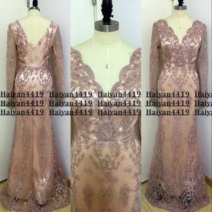 Rosado oscuro Bling imagen real vestidos de noche del desgaste total de encaje con cuello en V de la sirena de Cuentas Lentejuelas largo Sleevs árabe formal del vestido de partido del Prom Vestidos