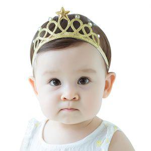 Carino argento corona d'oro Baby Girl Elastico Hairband Bambini fasce per capelli Accessori neonati compleanno fotografia fascia copricapo