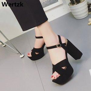 Sandali con tacco Wertzk 2019 Estate Sandalo Scarpe donna donne di estate sexy Gladiator femminile piattaforma della pelle scamosciata romana sandali E242