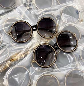L'oro nero occhiali da sole rotondi Grey Shaded CE 711SA des lunettes de soleil donne vetri di sole nuovo con scatola
