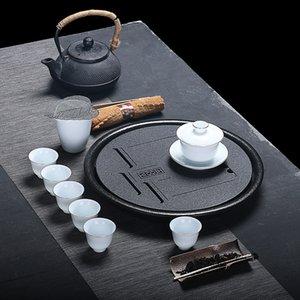 Rough pottery tea tea tray set Japanese home Kung Fu Tea Set round drain dry bubble table custom LOGO