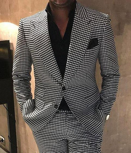 Houndstooth Groom Tuxedos Peak Lapel Men Wedding Tuxedo Fashion Men Jacket Blazer Men Prom Dinner Darty Suit(Jacket+Pants+Tie) 1592