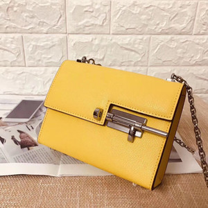 Moda Bolsas Cowskin 18CM parafuso Bag Yellow 2020 Verão Bolsas de ombro mulheres Senhora couro genuíno atacado Handbag Factory