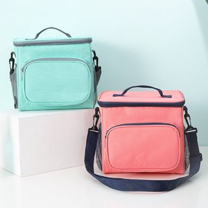 Lunch Bags Double Lunchbox Lunchbox Canvas Food Picnic Borsa di raffreddamento Lunch Box portatile di raffreddamento Tote 4 colori all'ingrosso YW3895