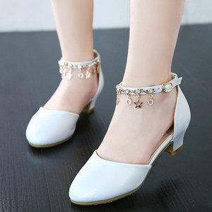 Spring Children Shoes Girls High Heel Princess Dance Sandals Kids Leather white shoe Fashion Girls Party Dress Wedding Shoes Y200619