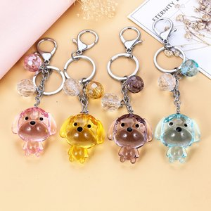 Transparent Crystal Dog Keychain Love Rope Key Chains Decorative Pendants for Women Bags Accessories Car Key Cute Gifts