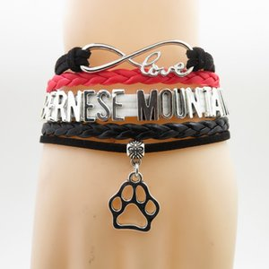 Infinity Bernese Mountain Bracelet Dog Gifts Pet Zampa Charm Bernese Mountain Dog Mom Bracciali in pelle nera per donna e uomo