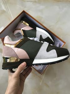 أحذية الخصم فاخر مصمم أحذية عارضة Rockrunner الترفيهية رجل إمرأة حذاء رياضة شبكة جلدية الترقيع شقق بنات رخيصة أفضل تنس