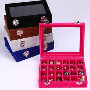 24 gioielli griglia velluto vetro anello visualizzare dell'organizzatore del supporto vassoio della scatola di caso di immagazzinaggio orecchini Vetrina di immagazzinaggio dell'esposizione 24 Sezione Scatole RRA3237