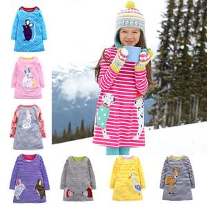 Ragazze di autunno manica lunga gonna a righe Pois Cartoon cervi coniglio ricamati Appliqued principessa Abiti per bambini boutique di abbigliamento M451