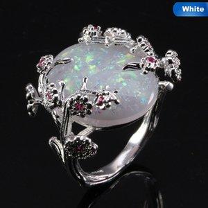 Opal style chinois prune Belle bague d'arbre Bague fleur bijoux en or noir Rempli romantique Big White Fire Bands Femmes