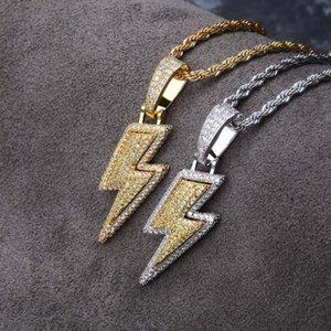 Hip Hop Shinning Full White Zircon Lightning Pendant Necklace 18K Real Gold Plated for Men Women