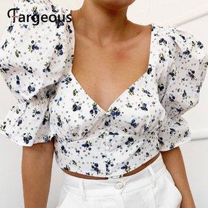 Fargeous Женщины Цветочный Принт Короткая Блузка 2020 Летняя Мода Старинные Фонари Рукав Квадратный Воротник Рубашки Дамы Праздник Блузка