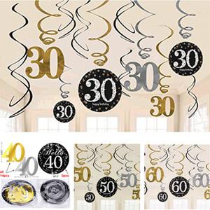 Novo Design Glitter 30/40/50/60 Th Birthday Hanging redemoinhos Adultos Detalhes da folha Danglers espiral decorações do partido aniversário aniversário