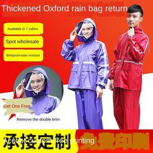 traje de una sola capa para los hombres de una sola capa de división de la protección laboral y las mujeres se dividió el trabajo impermeable al aire libre impermeable de protección laboral