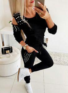 Basculador de chándal 2019 del resorte ocasional del invierno de las mujeres del chándal de los sistemas 2pcs hombro frío largo rebordear la camiseta de las tapas y las bragas