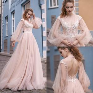 2019 Vintage Milva Beach Blush Pink Vestidos de novia de manga larga Con cuello en V Encaje Apliques Boho Vestidos de novia Vestido bohemio con espalda hueca