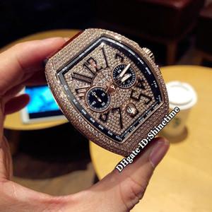 COLECCIÓN PARA HOMBRE VANGUARD V 45 CC DT NR NR (5N) Reloj con cronógrafo de cuarzo VK de cuarzo con esfera de diamante dorado para hombres Reloj de oro rosa con diamantes