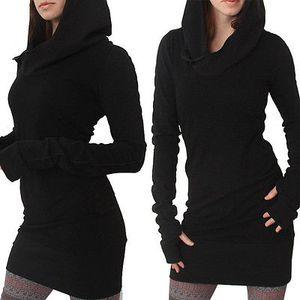 Casual mujer de manga larga Nueva bodycon Slim Fit Hoddies Fullover Jumper Vestidos Mujer Otoño sólidos Tops largo sudaderas con capucha