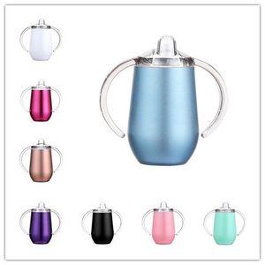 10 once Sippy Cups vino dell'acciaio inossidabile Occhiali doppi manici Bicchieri portauova con manici e coperchio in magazzino