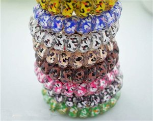 Mix color Leopard Big Size Hair Rings Telephone Wire Elastics Bobbles Hair Tie Bands Kids Adult Hair Accessories DHL bFJ444