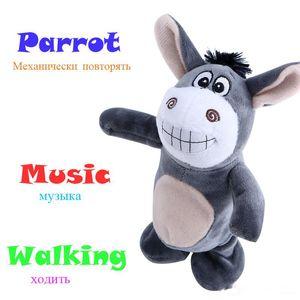 لطيف القطيفة حمار الحديث Neddy دمية المشي روبوت الحيوانات المحنطة عمل الشكل التعليم الحيوانات الأليفة لعبة إلكترونية في وقت مبكر مع الموسيقى لعب الاطفال