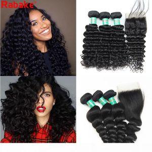 Deep Wave Brazilian Virgin Human Hair Bundles with Closure Loose Wave Rabake 100 Unprocessed 4x4 Top Lace Closure Human Hair Extensions