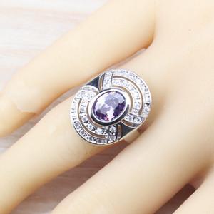 Noblest 925 Sterling Silver Four Piece Women Jewelry Set Water Drop Purple Zircon Earring Pendant Necklace Bracelet Ring JS81