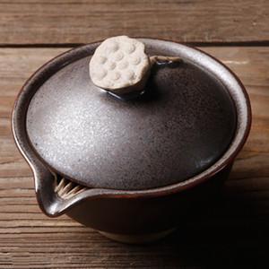 Criativa Grosso Pottery Gaiwan japonês Ceramic Tea Terrina Kung Fu Tea Set Acessórios Teacup Tea Bowls Retro Home Decor