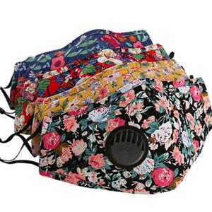 Floral de algodão máscara de impressão com válvula de respiro respirável Boca Máscaras Anti poeira lavável reutilizáveis Rosto cobertura máscara sem filtro