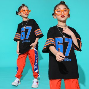 Kids Hip Hop Clothing Clothes Dance Costume for Girls Loose Black T shirt Jogger Orange Pants Jazz Ballroom Dancing Streetwear