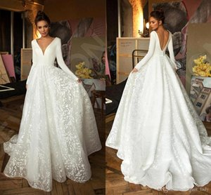 New Designer manches longues robes de mariée en dentelle Stain V-cou princesse longueur de plancher de mariée robe de mariée robe V Backless Robe de mariée