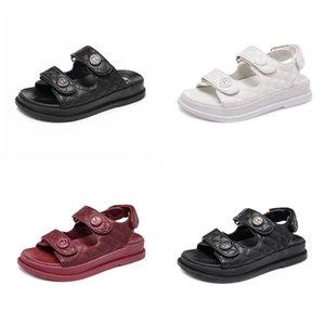 Couro genuíno Mulheres Sandals Gladiator Verão sapatos 2020 Platform preto liso mulher ocasional sapatos de praia Mulher Sandals Ct1 # 568