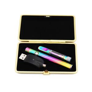 Ricaricabile Vape Pen Kit Arcobaleno Oro sigaretta elettronica Pen 510 Discussione cartuccia della penna della cera con 400mAh caricabatteria DHL di spedizione libero