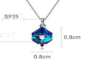 Кристалл ожерелье Аврора Рубик куб элегантный кулон цепь ключицы