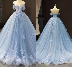 Magnífica 2020 del cielo Nueva luz azul vestidos de noche del hombro apliques de flores hechas a mano elegante del partido formal Prom Vestidos Tamaño más Vestidos