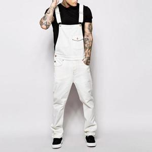 Jumpsuits Overalls Men Bib Jeans Denim Suspender Romper Trousers Men Streetwear Pockets Sexy Slim Skinny Overall Black White
