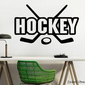 Hockey sur glace Stickers muraux joueur de hockey Sport Gym décorations Boy Chambre Decal Wall Art Poster Muursticker Peintures murales Décoration