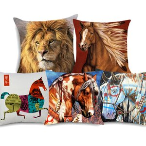 Indian War Horses Kissenbezüge Wild Animal Horse Lion Art Schlafzimmer dekorative Leinen Kissenbezug 45x45 cm