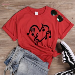 Music Notes Heart Love Graphic T Women Shirts Aesthetic Clothes Summer Girl Power Passionate Music T Shirt For Lady Girls Q 923