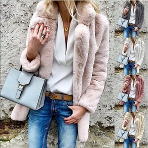 Для женщин искусственного меха куртки Верхняя одежда зима отворотом шеи Velvet пальто конструкции Сыпучие пальто толстый теплый мягкий Верхняя одежда