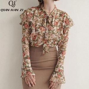 Qian Han Zi Designer de Moda Verão camisa de manga comprida 2020 com folhos de impressão elegante flor mulheres tops e blusas